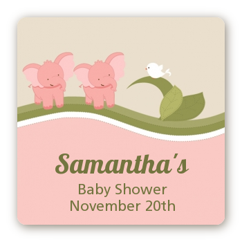 twin elephant girls baby shower stickers candles favors