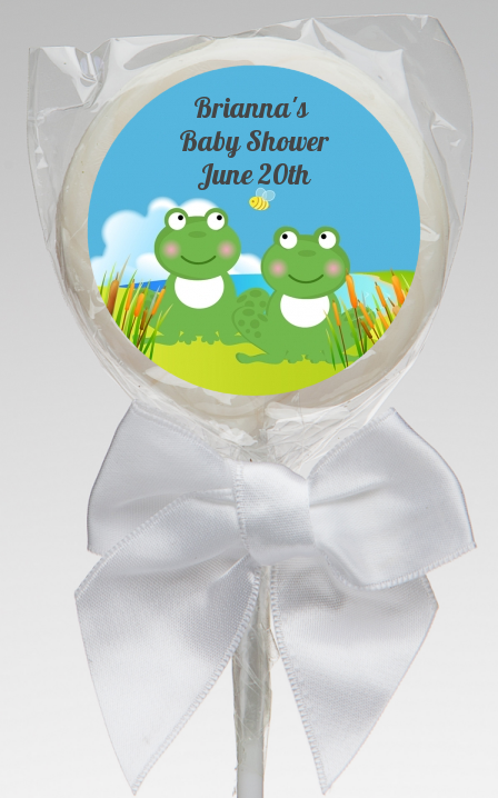 Twin Frogs  Personalized Baby Shower Lollipop Favors 448 x 718