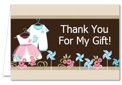 Baby Shower Thank You Cards Twin Little Outfits 1 Boy And 1 Girl