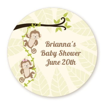 Twin Monkey - Round Personalized Baby Shower Sticker Labels