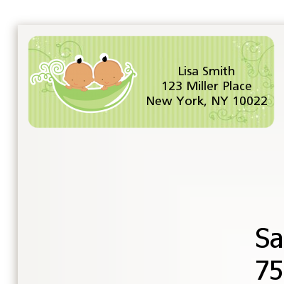 Twins Two Peas in a Pod Hispanic - Baby Shower Return Address Labels Twin Boys