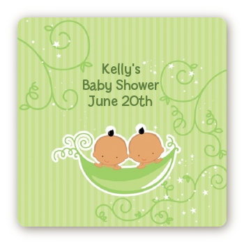 Twins Two Peas in a Pod Hispanic - Square Personalized Baby Shower Sticker Labels 2 Boys