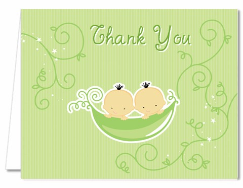 Baby Shower Thank You Cards Twins Two Peas In A Pod Asian Thank