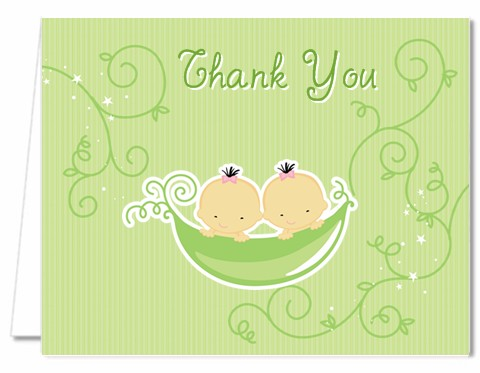 Twins Two Peas in a Pod Asian - Baby Shower Thank You Cards 1 Boy 1 Girl