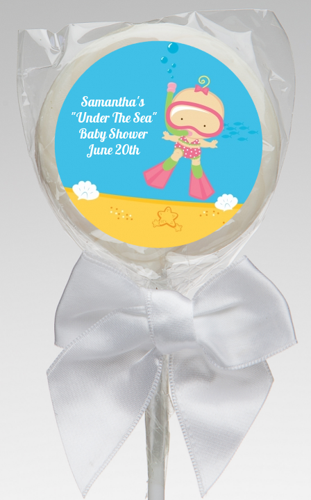 under the sea baby girl snorkeling baby shower lollipop favors under