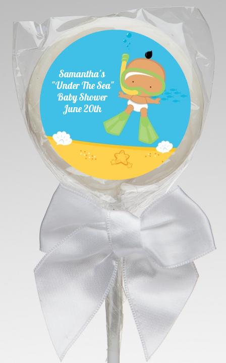 under the sea hispanic baby snorkeling baby shower lollipop favors