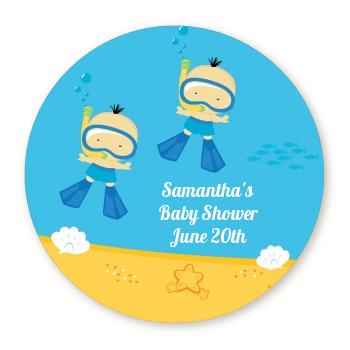 Under the Sea African American Baby Boy Twins Snorkeling - Round Personalized Baby Shower Sticker Labels