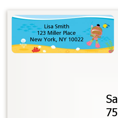 Under the Sea African American Baby Girl Snorkeling - Baby Shower Return Address Labels