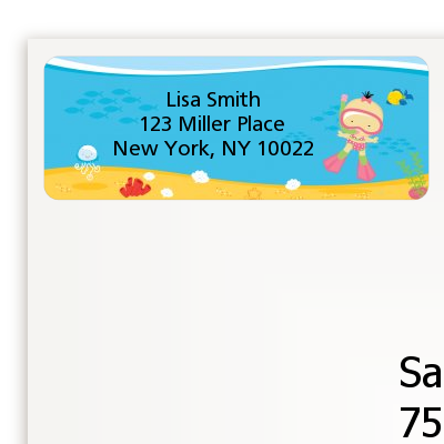 Under the Sea Asian Baby Girl Snorkeling - Baby Shower Return Address Labels