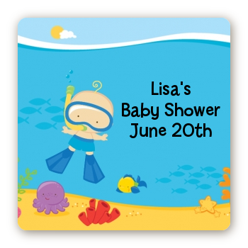 Under the Sea Baby Boy Snorkeling - Square Personalized Baby Shower Sticker Labels