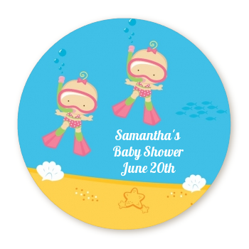 Under the Sea Baby Twin Girls Snorkeling - Round Personalized Baby Shower Sticker Labels