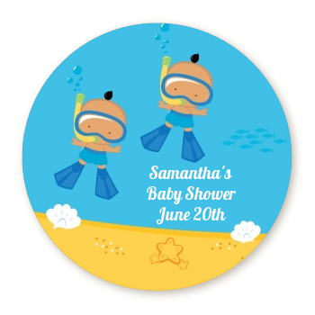 Under the Sea Hispanic Baby Boy Twins Snorkeling - Round Personalized Baby Shower Sticker Labels