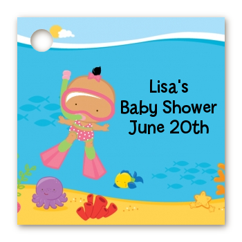 Under the Sea Hispanic Baby Girl Snorkeling - Personalized Baby Shower Card Stock Favor Tags