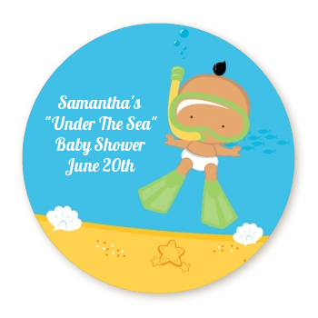 Under the Sea Hispanic Baby Snorkeling - Round Personalized Baby Shower Sticker Labels