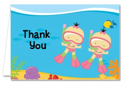 Under the Sea Asian Baby Girl Twins Snorkeling - Baby Shower Thank You Cards