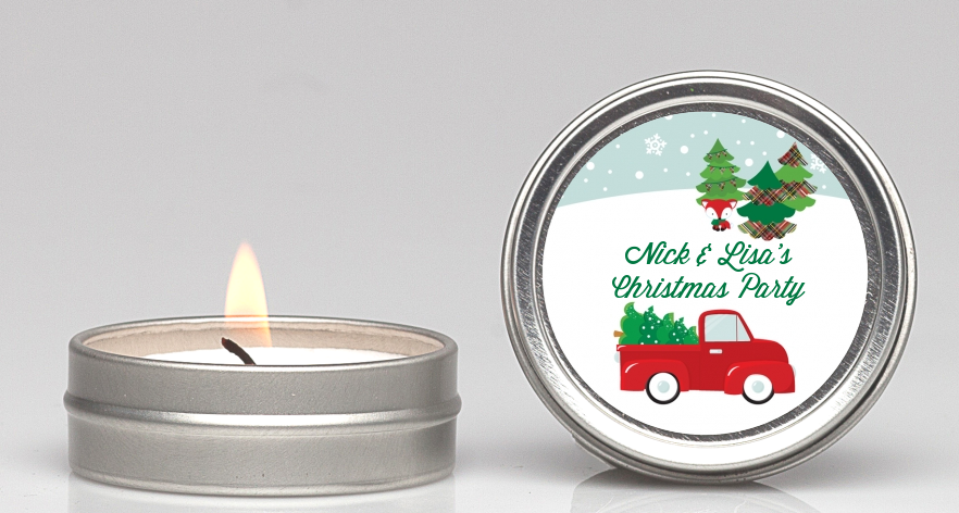 Vintage Red Truck With Tree Candle Favors | Candles & Favors