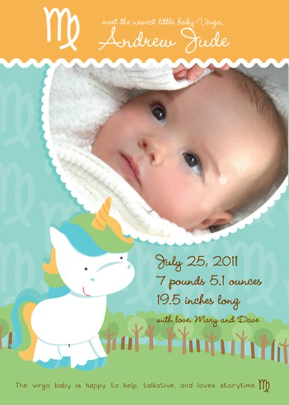 Unicorn | Virgo Horoscope - Birth Announcement Photo Card