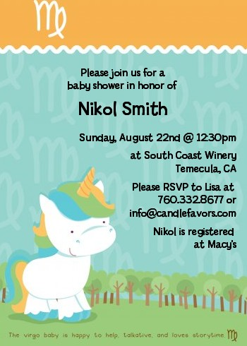 Unicorn Virgo Horoscope Baby Shower Invitations