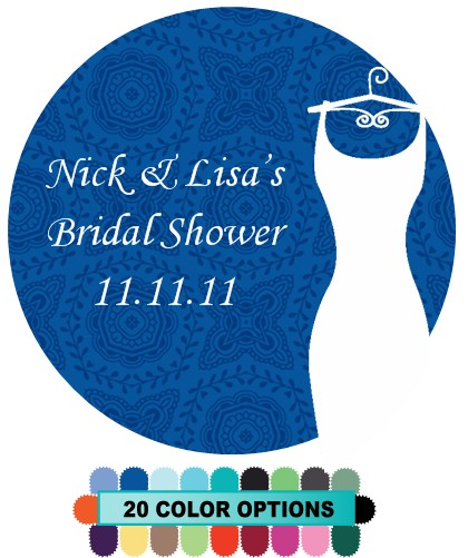 Custom Wedding Dress - Round Personalized Bridal Shower Sticker Labels