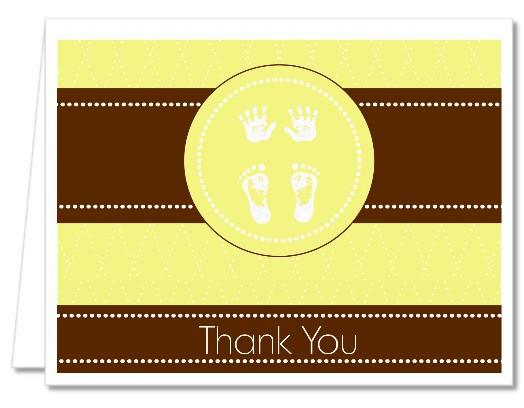 Baby Feet Pitter Patter Neutral - Baby Shower Thank You Cards
