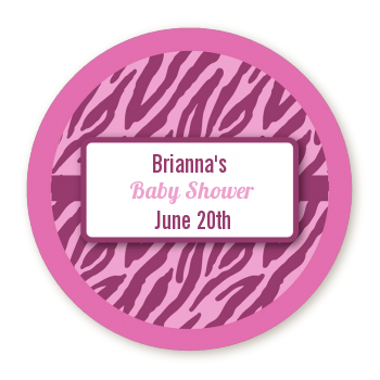 Zebra Print Baby Pink - Round Personalized Baby Shower Sticker Labels