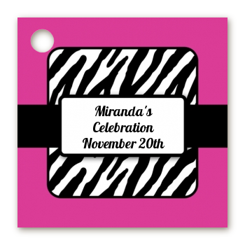 Zebra Print Pink - Personalized Birthday Party Card Stock Favor Tags