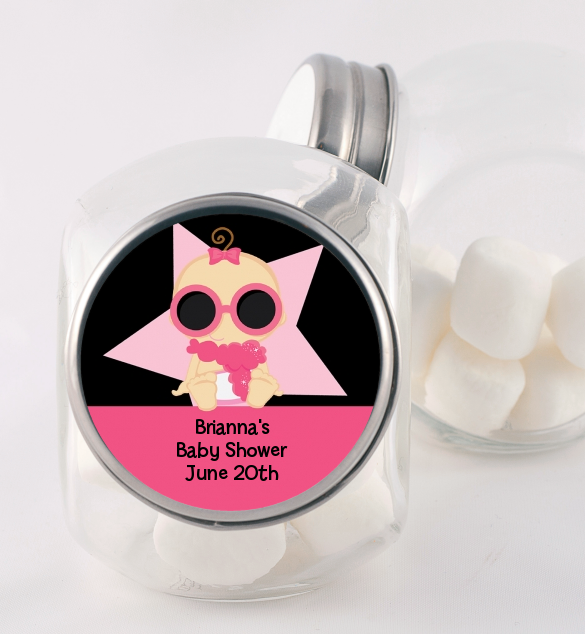 A Star Is Born Hollywood Black|Pink - Personalized Baby Shower Candy Jar African American