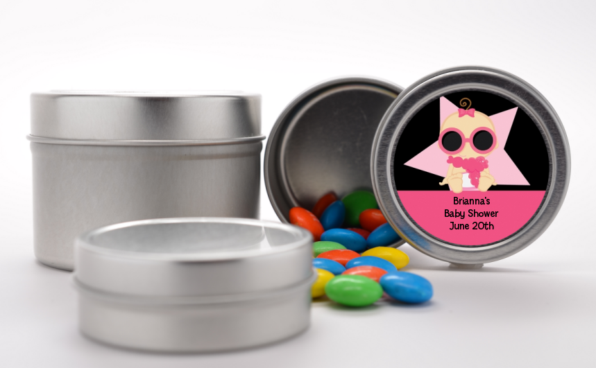A Star Is Born Hollywood Black|Pink - Custom Baby Shower Favor Tins African American