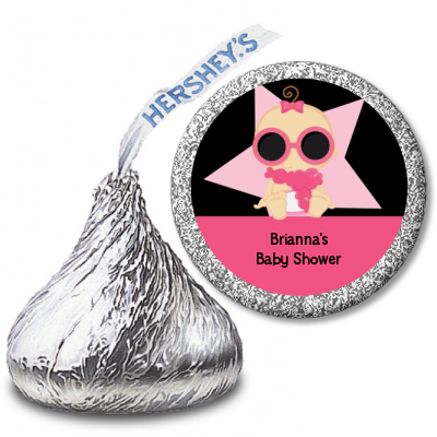 A Star Is Born Hollywood Black|Pink - Hershey Kiss Baby Shower Sticker Labels African American