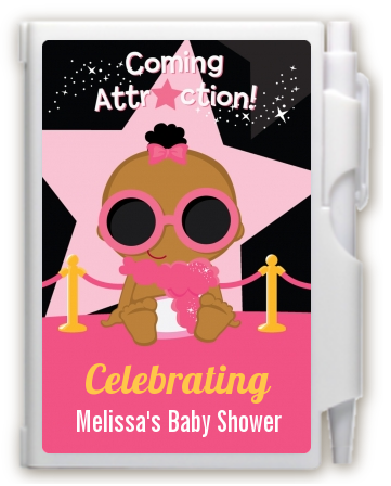 A Star Is Born Hollywood Black|Pink - Baby Shower Personalized Notebook Favor Blonde Hair