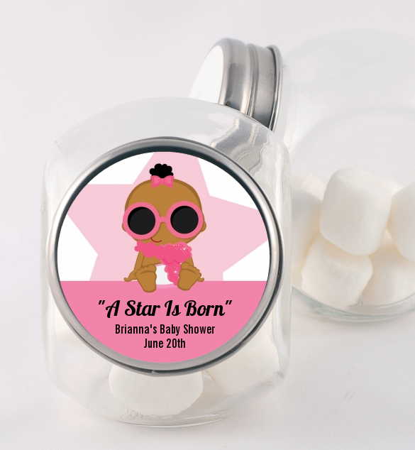 A Star Is Born Hollywood White|Pink - Personalized Baby Shower Candy Jar Blonde Hair