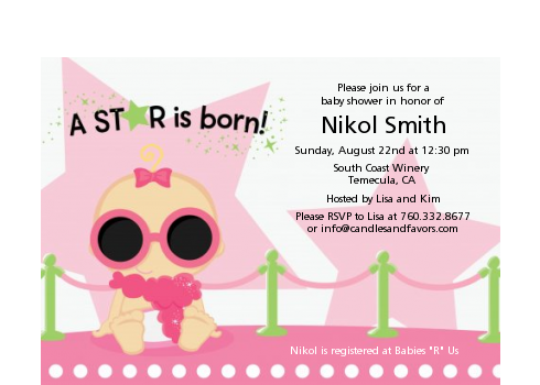 A Star Is Born Hollywood White|Pink - Baby Shower Petite Invitations Blonde Hair
