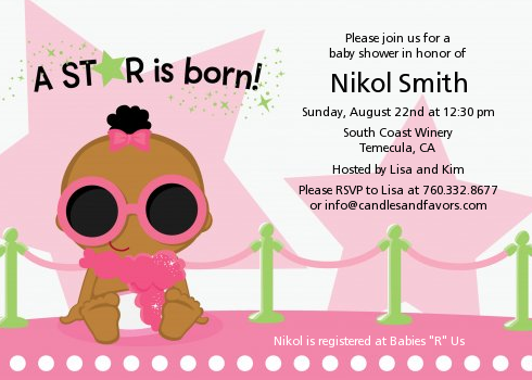 A Star Is Born Hollywood White|Pink - Baby Shower Invitations Blonde Hair