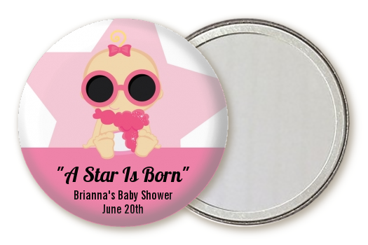 A Star Is Born Hollywood White|Pink - Personalized Baby Shower Pocket Mirror Favors Blonde Hair