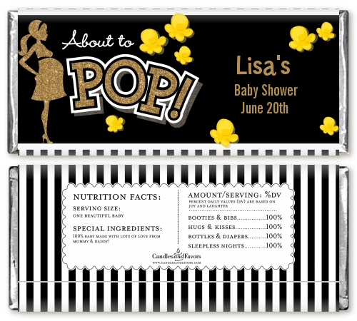 About To Pop Gold Glitter - Personalized Baby Shower Candy Bar Wrappers Option 1