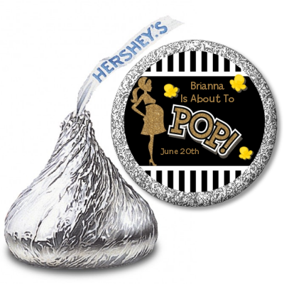 About To Pop Gold Glitter - Hershey Kiss Baby Shower Sticker Labels Option 1