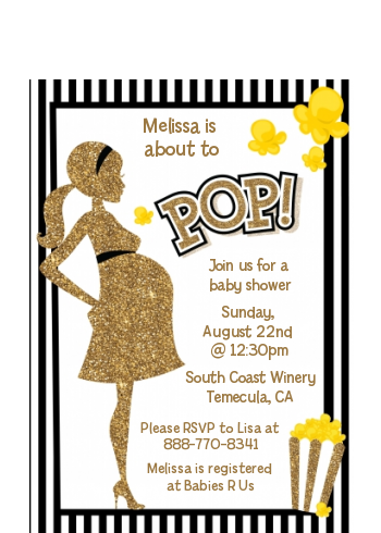 About To Pop Gold Glitter - Baby Shower Petite Invitations Option 1