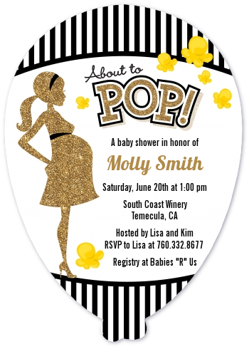 About To Pop Gold Glitter - Baby Shower Shaped Invitations Option 1