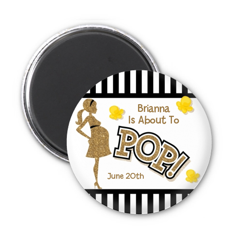 About To Pop Gold Glitter - Personalized Baby Shower Magnet Favors Option 1