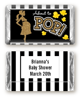 About To Pop Gold Glitter - Personalized Baby Shower Mini Candy Bar Wrappers Option 1
