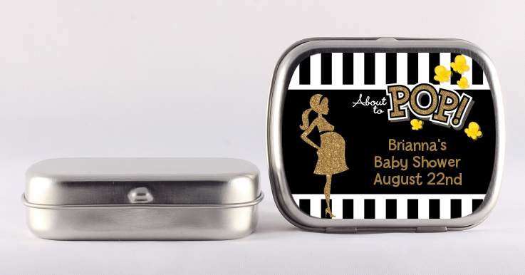 About To Pop Gold Glitter - Personalized Baby Shower Mint Tins Option 1