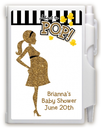 About To Pop Gold Glitter - Baby Shower Personalized Notebook Favor Option 1