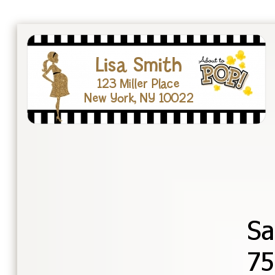 About To Pop Gold Glitter - Baby Shower Return Address Labels Option 1