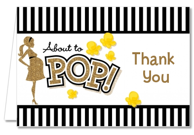 About To Pop Gold Glitter - Baby Shower Thank You Cards Option 1
