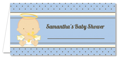 Angel Baby Boy Caucasian - Personalized Baptism / Christening Place Cards
