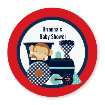 Animal Train - Round Personalized Baby Shower Sticker Labels Option 1