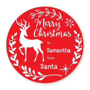 Festive Antlers - Round Personalized Christmas Sticker Labels