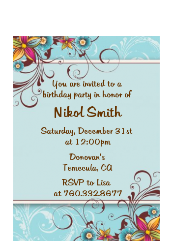 Aqua & Brown Floral - Birthday Party Petite Invitations