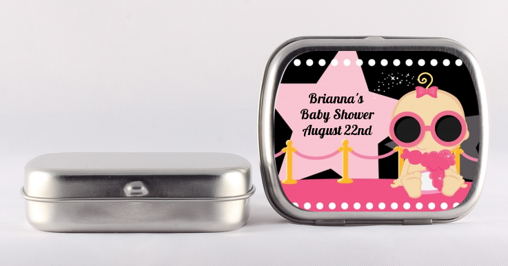 A Star Is Born Hollywood Black|Pink - Personalized Baby Shower Mint Tins African American Girl
