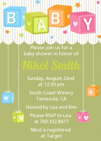 Baby Blocks - Baby Shower Invitations Brown